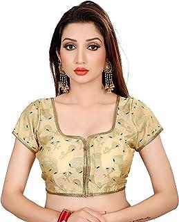 Ocean Fashion Women's Printed Round Neck ReadyMade Saree's Blouses
