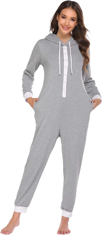 Ekouaer Women Onesies Max 52% OFF Max 81% OFF Pajamas Hooded Adult Sleepwear Piece One L