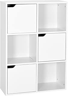 Meerveil Estantería Librería Estantería para Libros Estantería Almacenaje de Pared de 6 Cubos 3 Puertas Blanco 60 x 90 x 3...