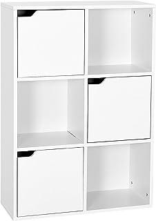 Meerveil Étagère de Rangement 6 Cubes Bibliothèque en Bois Armoire de Rangement, Inclus 3 Cubes Ouvertes et 3 Cubes avec P...