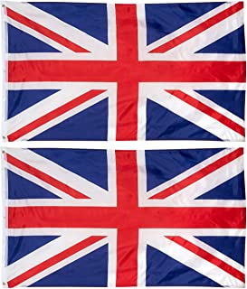 Juvale 2-Piece UK Flags - Outdoor 3x5 Feet United Kingdom Flags, British National Flag Banners, Double Stitched Polyester Flags with Brass Grommets, Decorations for Parties and Festivals, 3 x 5 Feet