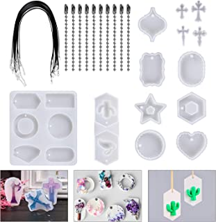 HOMEIDOL 13Pcs Silicone Resin Casting Molds with 20pcs 2 Style Bead Chains, Big Size Resin Pendant Molds for Epoxy Resin, Plaster, Soy Wax, etc
