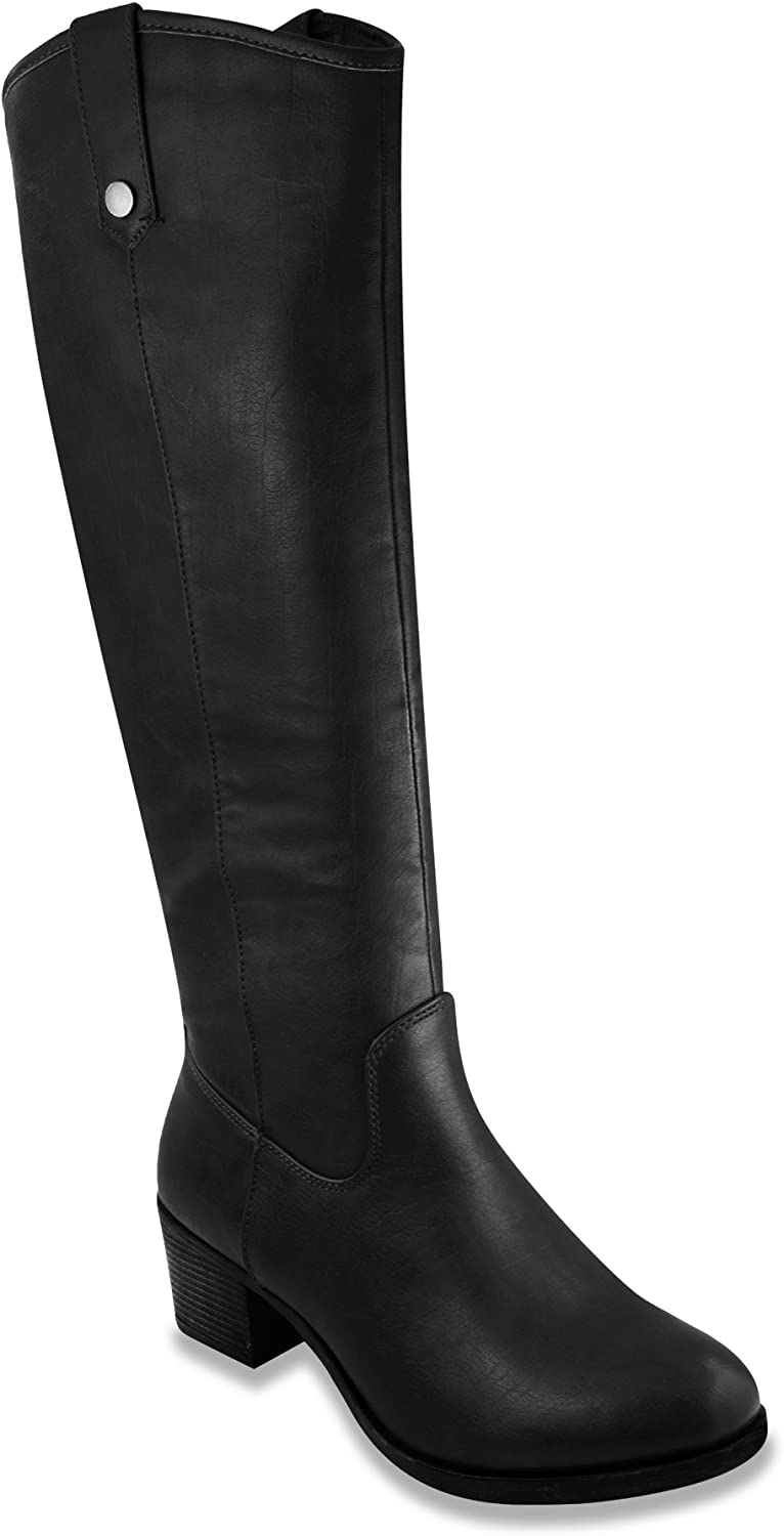 Women's Riding Boots Heeled Knee High Boot with Tall Shaft 9 Black Distress