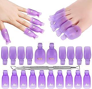 Makartt Gel Nail Polish Remover Clips Kit with 20 pcs Resuable Finger and Toenail Acrylic Nail Polish Removal Clips 1 Pc Nail Scraper for Nail Salon & DIY Nail Art, R-04
