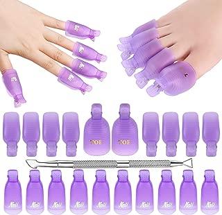 Makartt Gel Nail Polish Remover Clips Kit with 20 pcs Resuable Finger and Toenail Acrylic Nail Polish Removal Clips 1 Pc Nail Scraper for Nail Salon & DIY Nail Art