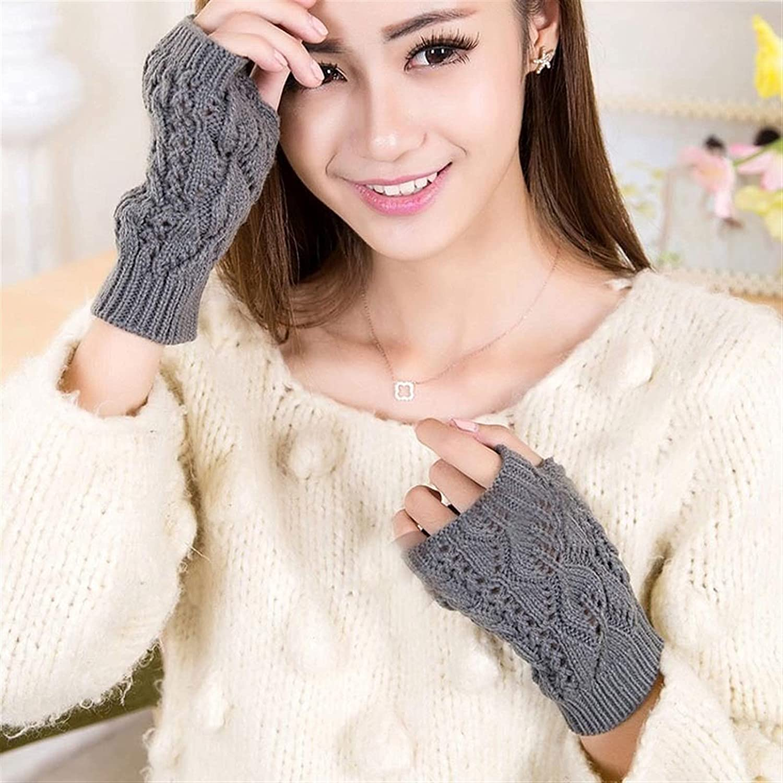 lkpoijuh Women Gloves Hand Warmer Winter Gloves Women Arm Crochet Knitting Plush Mitten Warm Fingerless Gloves (Color : Medium Gray)
