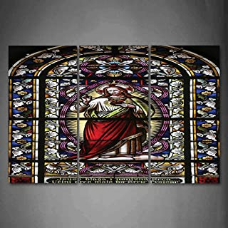 Hanging Wall Art Oil Painting 3 Panel,Sacred Heart of Pictures Gifts Believe Art Wall Cathedral Window View Silky Satin 3D Picture Print,Red Black White Blue,Home Decoration Wall Decor Gift,Earth Yell