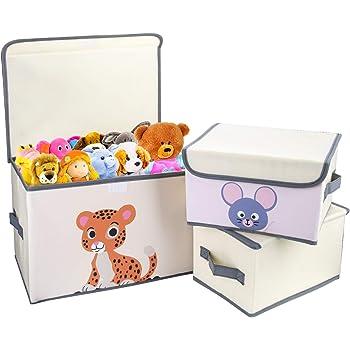 DIMJ Juego de 3 Cajas de Almacenaje Juguetes Plegable, Caja Organizadora de Juguetes con Tapa y Asa, Caja de Tela para Niños (Gris): Amazon.es: Hogar
