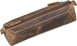 """STILORD Jim"""" Federmappe Leder Vintage Stifte Euti 2 Fach rundes Federmäppchen groß Stiftemappe für Damen und Herren Faulenzer aus echtem Leder, Farbe:mittel - braun"""