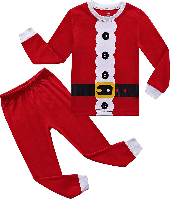 RKOIAN Little Boys Girls' Pajamas Sets Toddler Santa Christmas Pjs 100% Cotton Kids Sleepwears