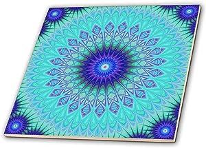 3dRose Frozen Mandala Blue Abstract Design Decorative Tile, 12-Inch-Ceramic, Multicolor