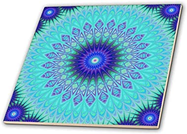 3dRose Frozen Mandala Blue Abstract Design Decorative Tile, 12-Inch-Ceramic, Multicolor