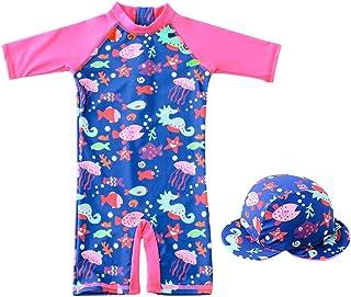 Bañador para Niña Trajes de Baño - Traje de Buceo una pieza Manga Larga para Deportes Acuáticos Protección UV Ropa de Natación y Gorra de Natación