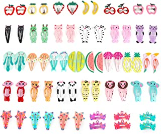 Ezerbery 64 Pcs Baby Girls Hair Clips Animal Pattern Print Girls' Metal Snap Hair Clips Hair Accessories for Kids Toddlers Girls