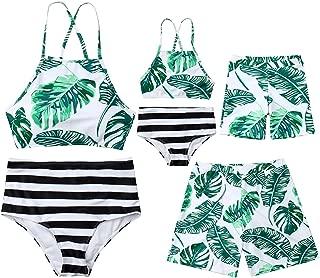 Mommy&Me Family Matching Swimsuit Two Piece Beach Wear Monokini Bathing Swimwear Board Shorts