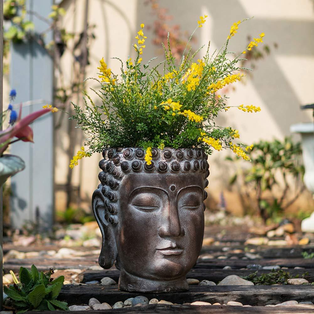 XMZDDZ Zen Cabeza De Buda Jardín Ornamento Al Aire Libre Plantador,Suculento Planta Pot Maceta Cabeza De Buda Estatua para Interior Al Aire Libre Jardín Casa Decorativos Grande: Amazon.es: Hogar