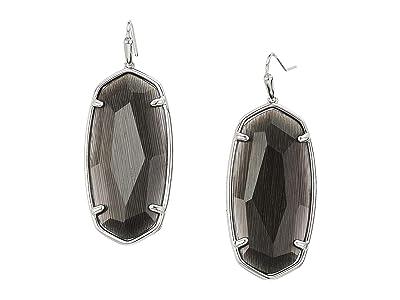 Kendra Scott Faceted Elle Earrings (Rhodium Black Cats Eye) Earring