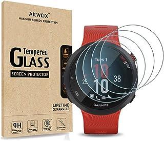 [4-Pack] Akwox Tempered Glass Screen Protector for Garmin Forerunner 45S / 45 GPS Running Watch, [2.5D Arc Edges High Defi...
