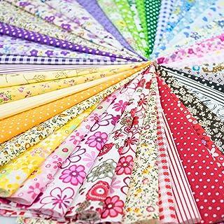 "Foraineam 60 PCS Different Designs9.8"" x 9.8"" (25cm x 25cm) Cotton Craft Fabric Bundle Printed Patchwork Squares for DIY ..."