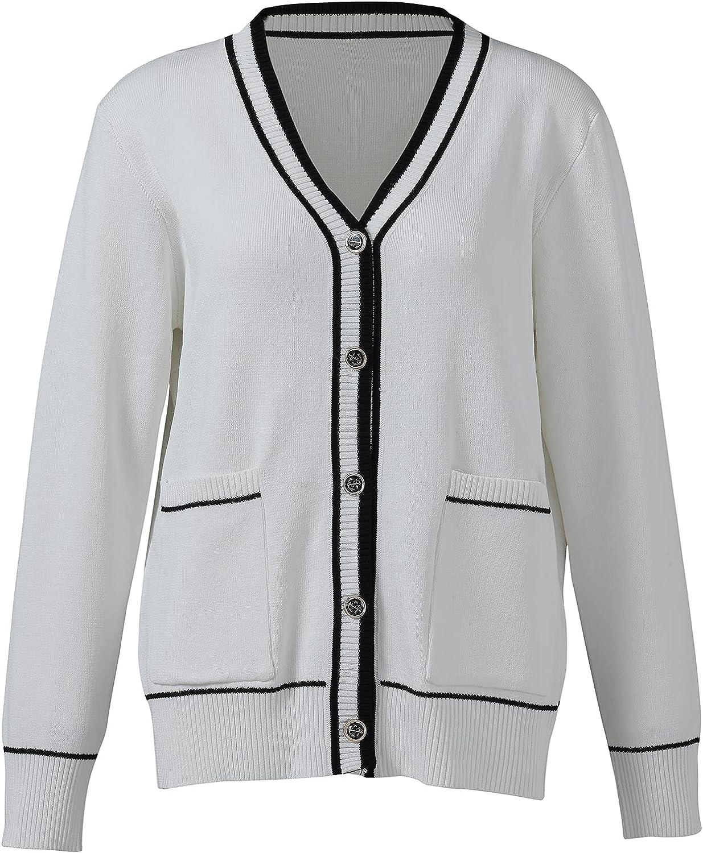 Women's Button Down Long Sleeve V-Neck Cardigan Pocket Soft Sweater