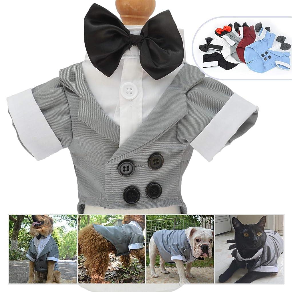 サンダル懐疑論周りロングロングペットアパレル犬服弓付きスーツタキシードウェディングスーツパーティー用コスチュームスモールミドルラージドッグ(LS、グレー)