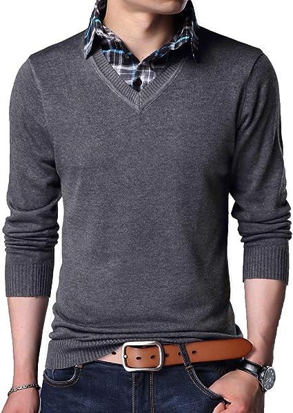 Yingqible Jersei para Hombre de Punto con Cuello en V y Cuello de Camisa Falsa Suéter de Punto de Manga Larga Suéter de Punto