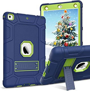 BENTOBEN iPad 6th Generation Case, iPad 5th Gen Case, Heavy Duty 3 in 1 Hybrid Soft Rubber Cover Rugged Hard Shell Shockproof Full Body Protective Kickstand Case for iPad 9.7 2018/2017 Navy Blue/Green