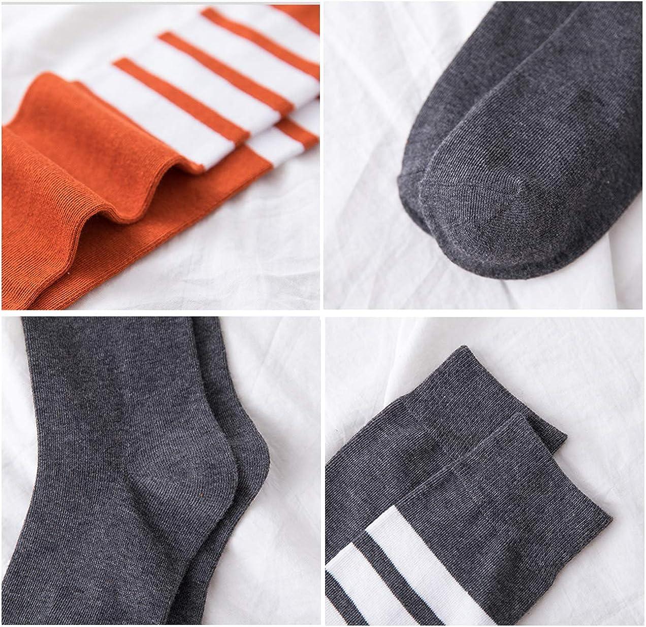 Anchovy Women Stripe Knee High Socks 4 Pack Casual Cotton Stockings Tube Socks 5-9 G-22