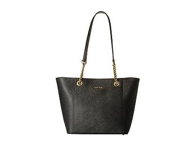 Calvin Klein Saffiano Tote (Black/Gold) Tote Handbags