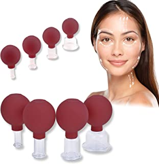 4 Pieces Facial Cupping Set - Vacuum Suction Cups, Silicone Cupping Therapy Set, Works for Fine Lines and Wrinkles, Anti-A...