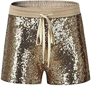 Loyomobak Womens Sequins Casual Drawstring Waist Summer Sexy Shorts