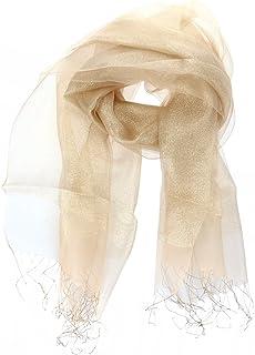 Tinksky Doppelschichtiger Sonnenschutz Schal aus Seide für Klimaanlagen, Geschenk zum Muttertag oder Geschenk für Frauen Gold