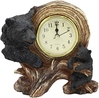 Ebros Black Bear Table Clock Mother Bear and Cub On Branch Desktop Clock Figurine 5.5