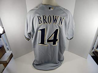 2001 Milwaukee Brewers Kevin Brown #14 Game Issued Poss Used Grey Jersey HTH - Game Used MLB Jerseys