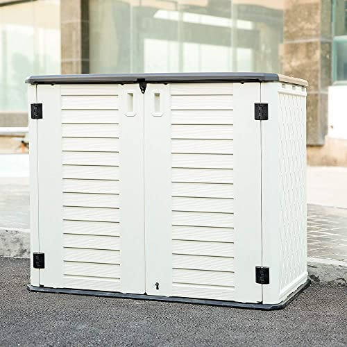 Kinying Outdoor Storage Shed - Horizontal Storage Shed Waterproof for Garden, Patios, Backyards, Multi-Opening Door C...