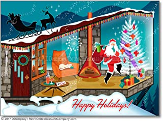 Mid Century Modern Santa Christmas Cards, Package of 8