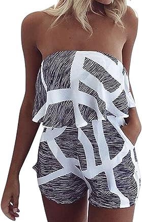 f32bb371396 Assivia Women Off Shoulder Romper Strapless Floral Print High Waist Beach  Shorts Rompers Playsuits