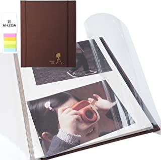 Photo Album - Self-Adhesive Album with 5 Colors Sticky Flag, 40 White Inner Pages, Magnetic Paper, Clear PVC Films (Chocolate)