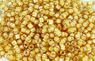 11/0 TOHO Treasures Japanese Glass Seed Beads #948- Jonquil/White Lined 5g