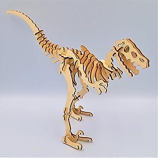 Handmade Wooden Dinosaur Jigsaw Puzzle Velociraptor Eco friendly Wooden Toys Kids Room Decor Birthday Gift for Kids Wooden Sculpture DIY Kit