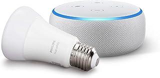 Echo Dot (3ª generazione, tessuto grigio chiaro) + Philips Hue White Lampadina LED Connessa, Attacco E27, Dimmerabile, Luc...