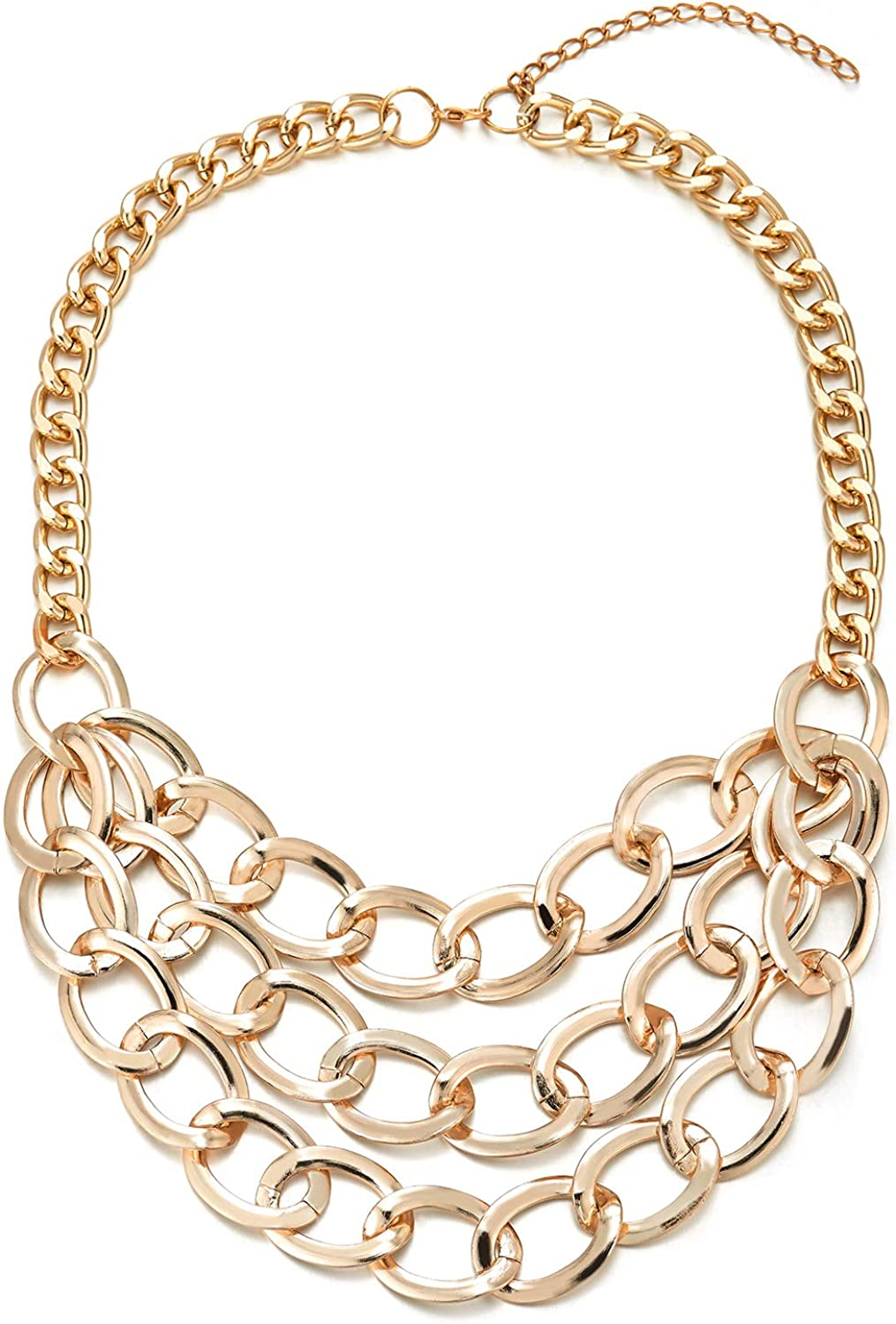 COOLSTEELANDBEYOND Gold Color Choker Collar Statement Necklace, Large Three-Layer Curb Chain Pendant, Light Weight