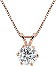 14K Gold Round 6-Prong Solitaire Moissanite Pendant Necklace (1/2 to 3 1/2ct TGW, White) 16 to 18-inch by Diamond Wish