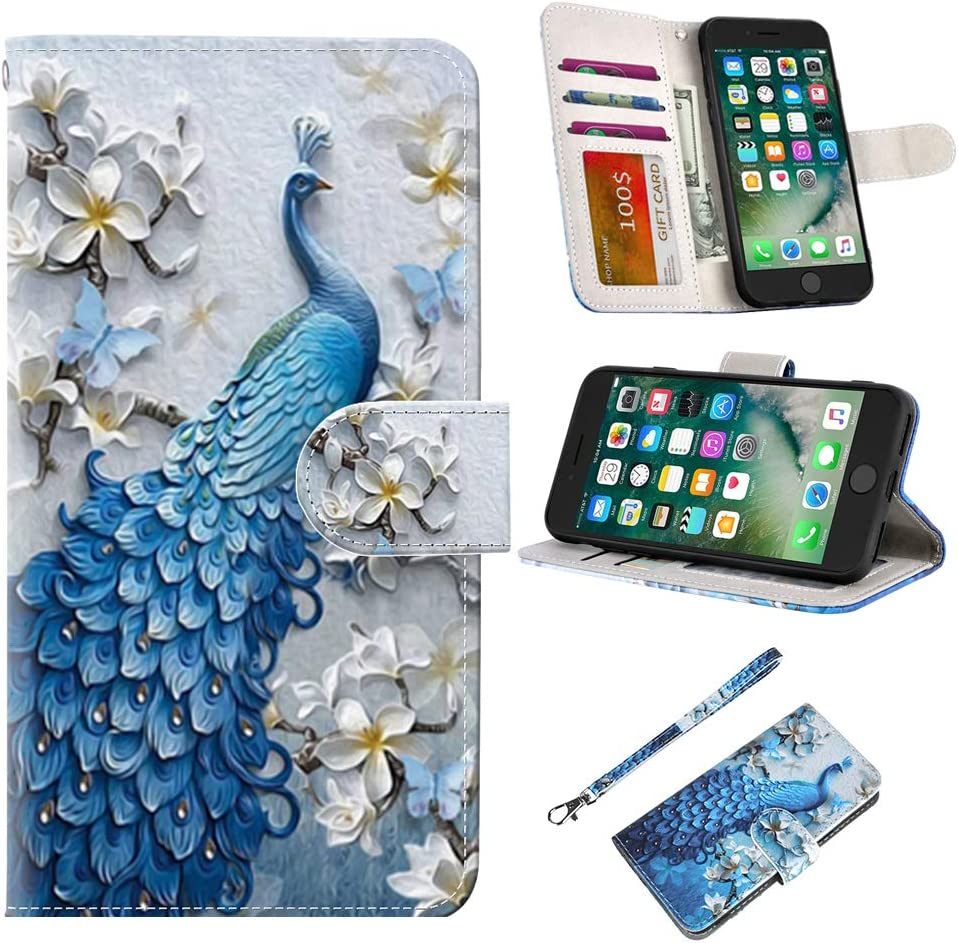 UrSpeedtekLive iPhone 7/iPhone 8 Wallet Case, Premium PU Leather Flip Case Cover with Card Slots & Kickstand for Apple iPhone 7 (2016)/iPhone 8 (2017), Peacock