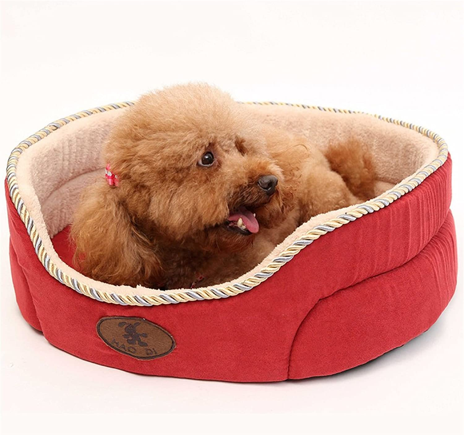Liuxiaoqing Pet Bed for Cats Small Dogs Suede Washable Kennel Round Nest Cat Litter Pet Supplies Small And Mediumsized Dogs Spring And Autumn Use Soft Comfy Washable (color   Red, Size   S)