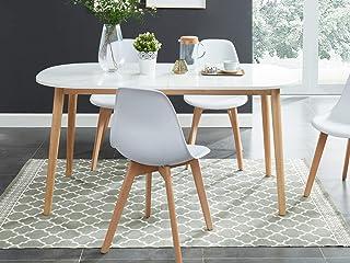 HOMIFAB Table à Manger scandinave Extensible 160 à 200x80x75 cm Blanc et Bois - Collection Erika.
