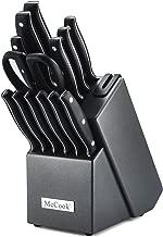 McCook MC39 14 Pieces FDA Certified Full TangTripleRivetKitchen Knife Set in Hard Wood Block with Built-in Sharpener and Kitchen Scissor(Graphite Block)