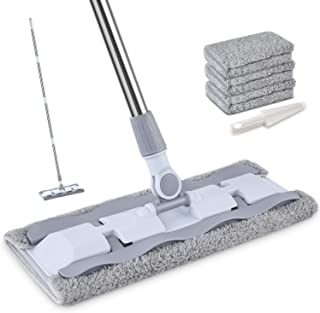Microfiber Hardwood Floor Mop with 4 Washable Pads, HOMTOYOU 360 Rotation Dust Flat Mop with Ultra Long Stainless Steel Handle for Home/Office Floor Cleaning