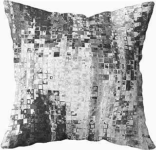 Ducan Lincoln Pillow Case 2PC 18X18,Funda De Almohada Suave,Fundas De Funda De Almohada Cuadrada Arte Abstracto Geométrico Fondo De Azulejos Monocromáticos En Colores Blanco Y Negro Patrón De Píxeles
