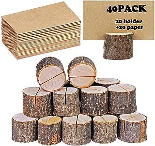 40 portatarjetas rústico de madera con soporte de madera